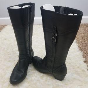 Sz 7M Riding Boots Black Wide Calf Clarks Heel